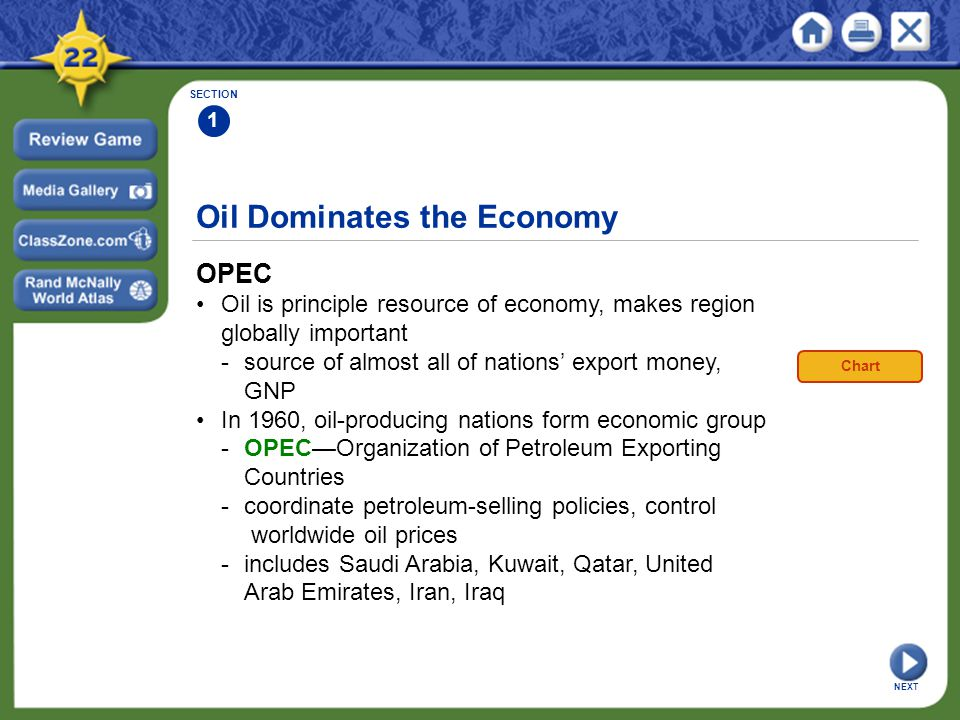 Oil Dominates the Economy OPEC Oil is principle resource of economy, makes region globally important -source of almost all of nations' export money, G