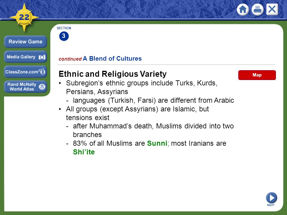 SECTION 3 NEXT Ethnic and Religious Variety Subregion's ethnic groups include Turks, Kurds, Persians, Assyrians -languages (Turkish, Farsi) are differ