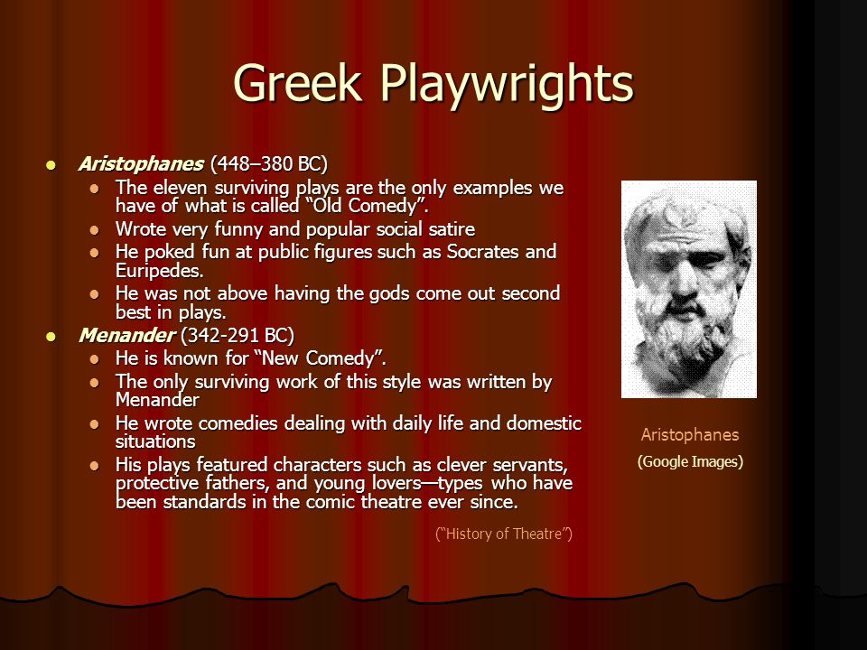 "Greek Playwrights Aristophanes (448–380 BC) Aristophanes (448–380 BC) The eleven surviving plays are the only examples we have of what is called ""Old"