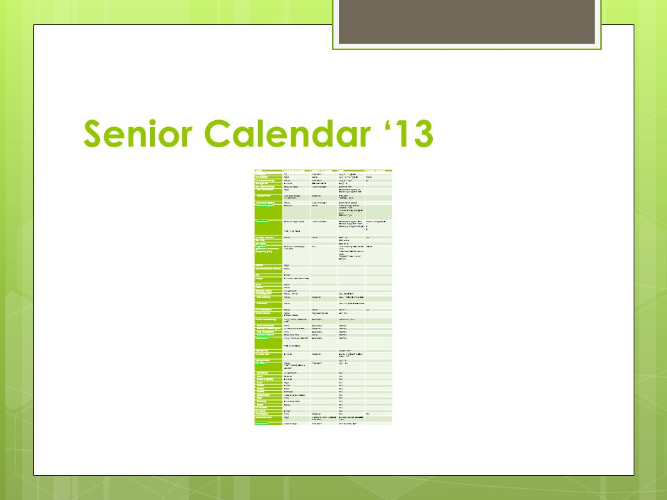 Senior Calendar '13 EVENTSPONSOR IN CHARGEOFFICER IN CHARGEDATEPARENTS INVOLVED Sr Clap-In RRPresidentAug 9- 1 st period Sr Elections TopeNoneAug 16 th -4 th periodnone SR Parent Meeting* FraleyPresidentAug.21 7pmall College Fair ShieldsCOUNSELORSSept 10 Fall Homecoming: Graves/ TopeVice PresidentSept 23 - 29 Hall decorations Tope Decorate Sept 23 (1-4) Clean-up Sept 28- 3:30 Powder Puff** Wallace/Shields Wildermuth Treasurer 9/26&27 -football field Pep Rally - posters FraleyVice PresidentSept 28-6 th period HC Court/ game GravesNone Practice- Spt 26-3:45 football field Photos @ capital- Sept 28 - 6pm Game- 7pm HC Dance Graves, Tope, Fraley PIC- Rita Rector Vice-President Decorate Sept29 10am- Dance -Sept 29-9-12am Cleanup- Sept29-midnight Parent chaperones- 1.