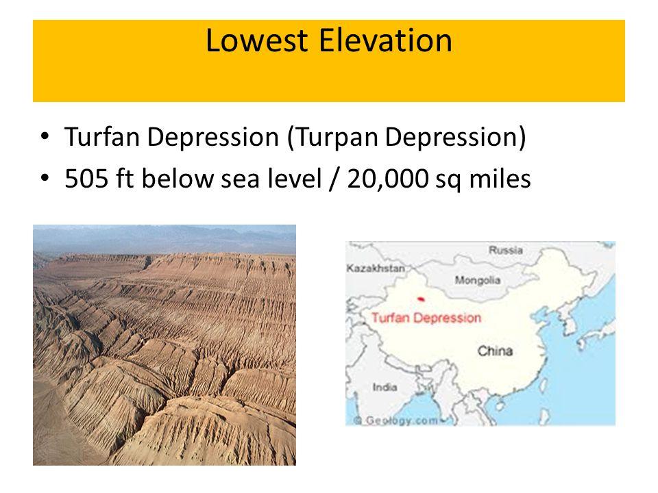 Lowest Elevation Turfan Depression (Turpan Depression) 505 ft below sea level / 20,000 sq miles