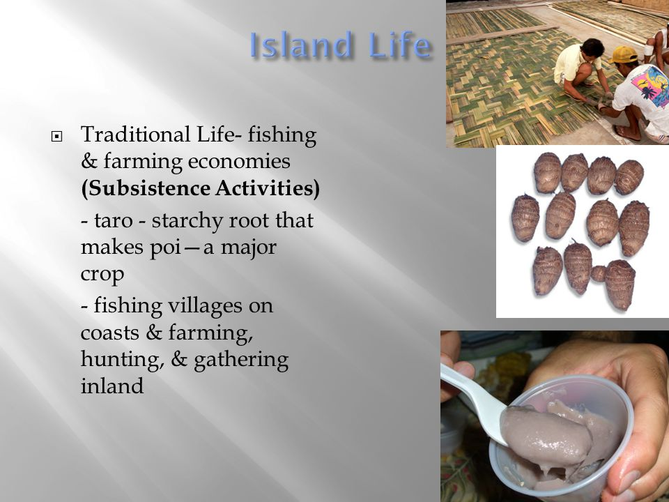  Traditional Life- fishing & farming economies (Subsistence Activities) - taro - starchy root that makes poi—a major crop - fishing villages on coast