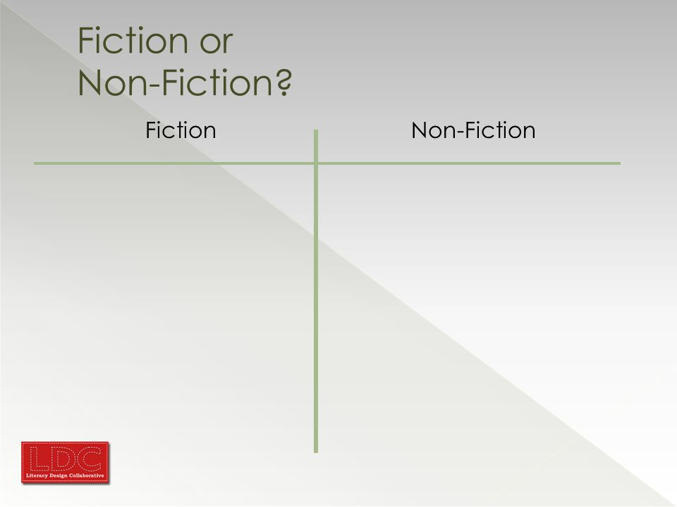 Fiction or Non-Fiction? FictionNon-Fiction