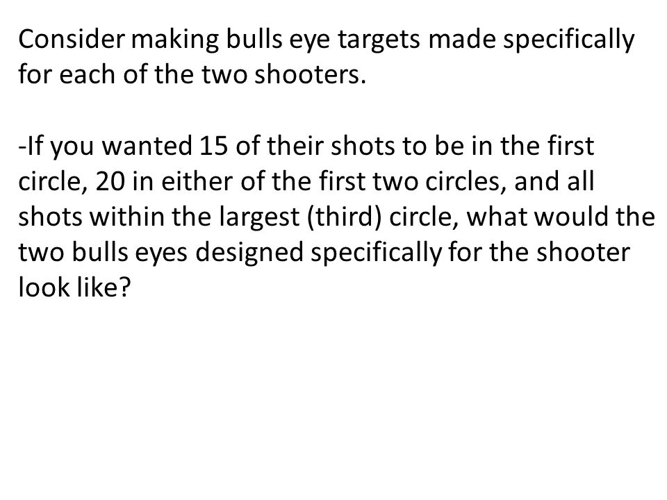 Consider making bulls eye targets made specifically for each of the two shooters.