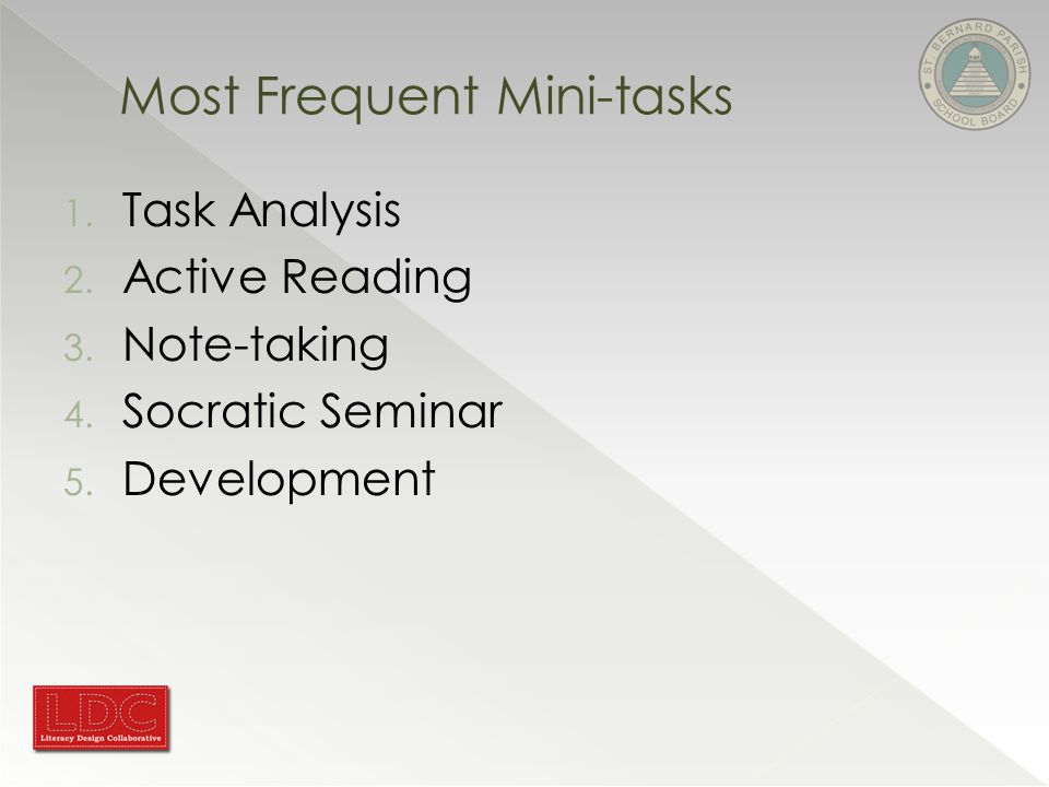 Most Frequent Mini-tasks 1. Task Analysis 2. Active Reading 3.