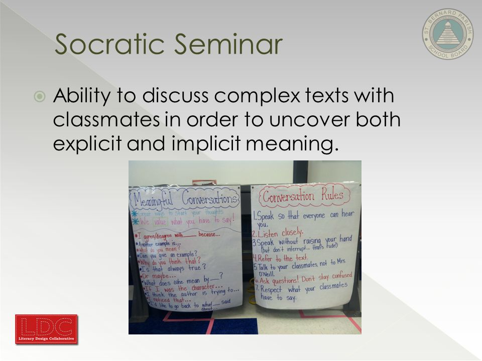 Socratic Seminar  Ability to discuss complex texts with classmates in order to uncover both explicit and implicit meaning.