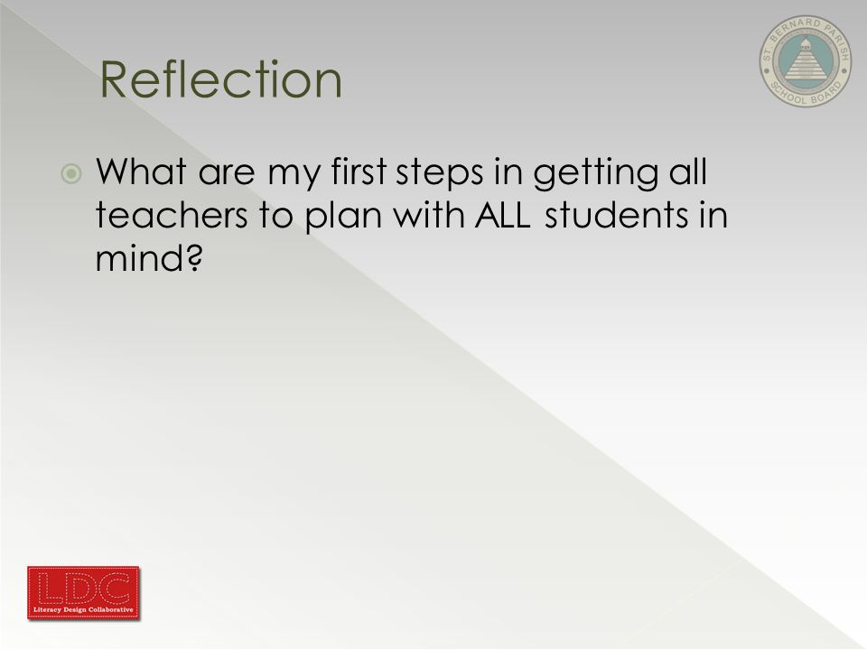 Reflection  What are my first steps in getting all teachers to plan with ALL students in mind