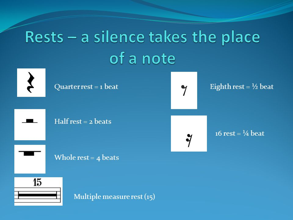Multiple measure rest (15) Quarter rest = 1 beat Half rest = 2 beats Whole rest = 4 beats Eighth rest = ½ beat 16 rest = ¼ beat