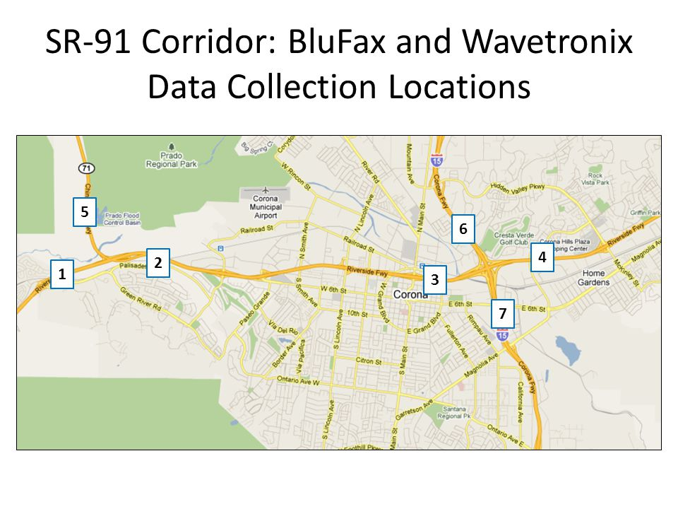 SR-91 Corridor: BluFax and Wavetronix Data Collection Locations 1 2 3 4 5 6 7