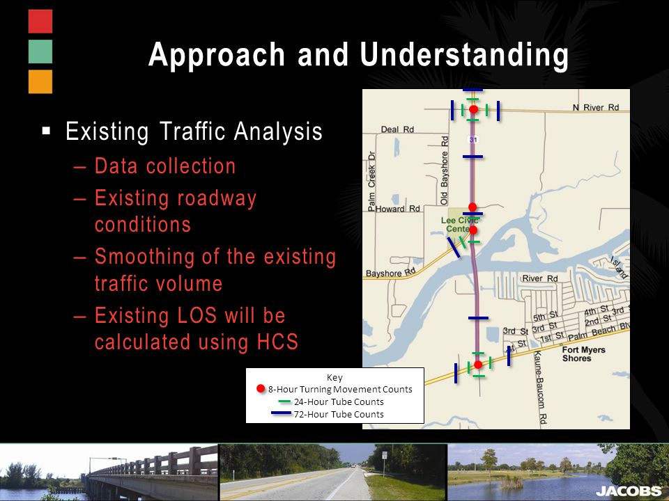 Approach and Understanding  Existing Traffic Analysis – Data collection – Existing roadway conditions – Smoothing of the existing traffic volume – Existing LOS will be calculated using HCS Key 8-Hour Turning Movement Counts 24-Hour Tube Counts 72-Hour Tube Counts