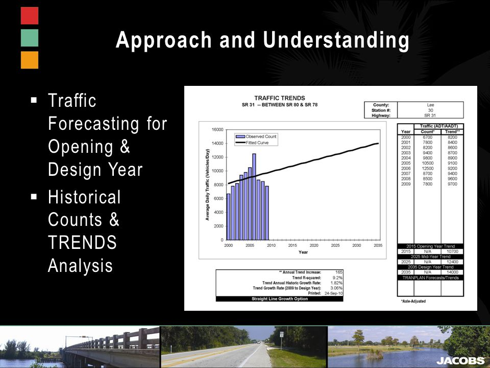 Approach and Understanding  Traffic Forecasting for Opening & Design Year  Historical Counts & TRENDS Analysis