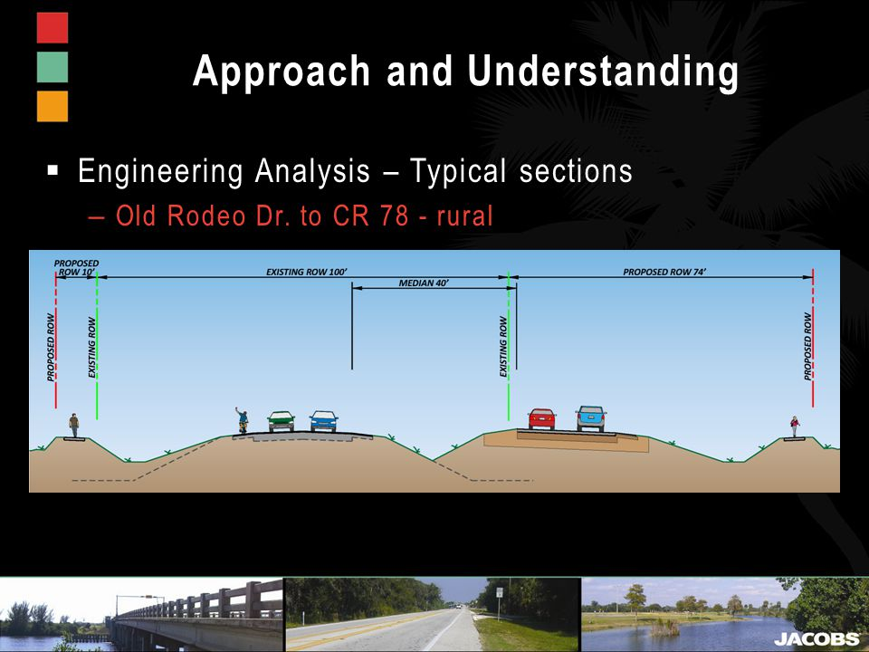 Approach and Understanding  Engineering Analysis – Typical sections – Old Rodeo Dr.