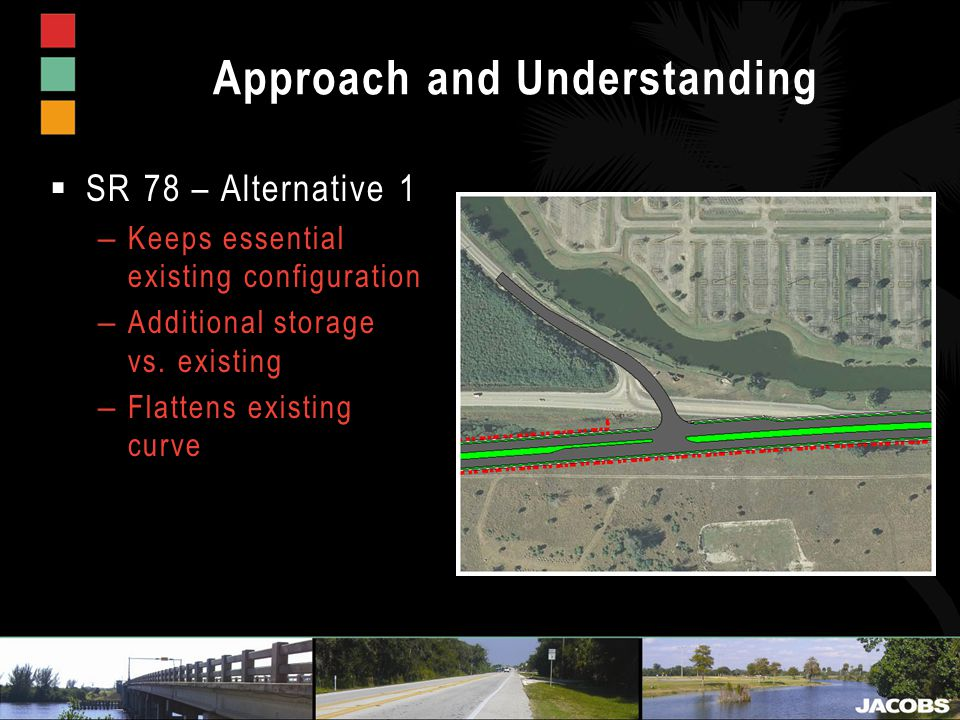 Approach and Understanding  SR 78 – Alternative 1 – Keeps essential existing configuration – Additional storage vs.