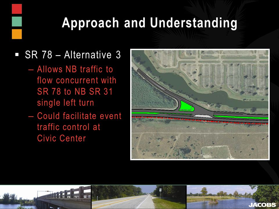 Approach and Understanding  SR 78 – Alternative 3 – Allows NB traffic to flow concurrent with SR 78 to NB SR 31 single left turn – Could facilitate event traffic control at Civic Center