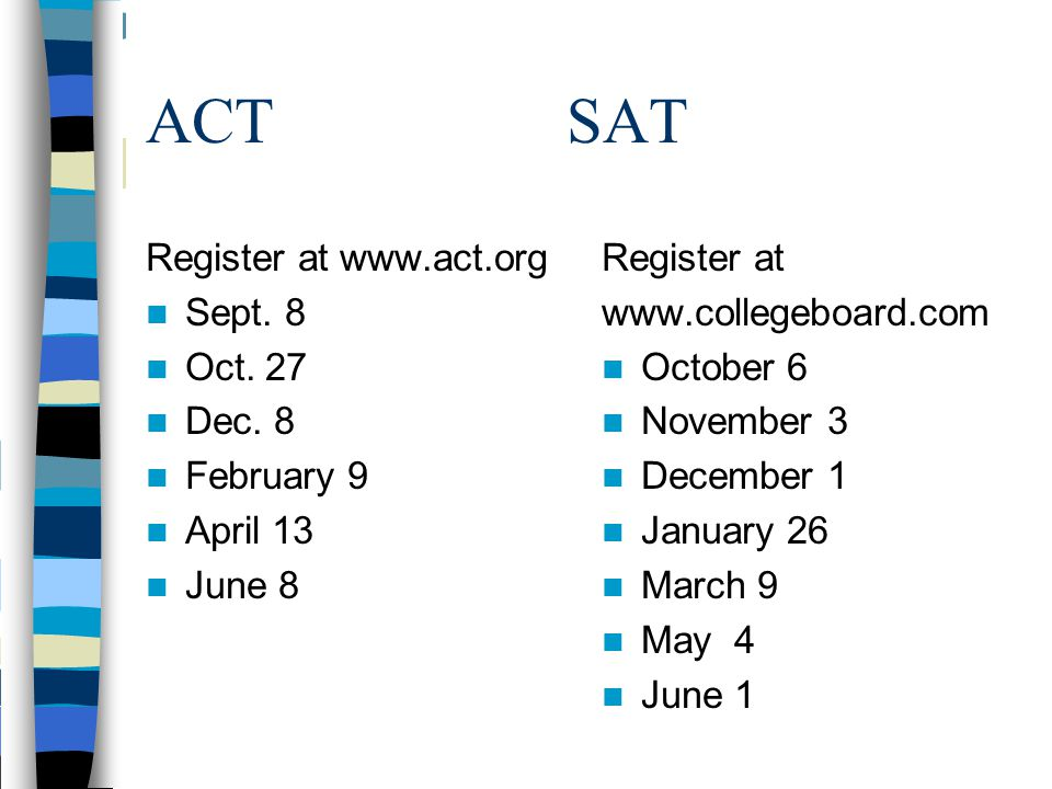 SAT/ACT Test Preparation www.princetonreview.com www.collegeboard.com www.act.org www.brightstorm.com www.free-test-online.com www.testprereview.com Friday, Sept.