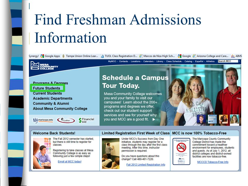 Find Freshman Admissions Information