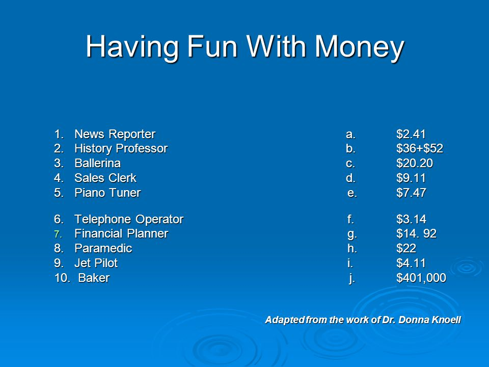 Having Fun With Money 1.News Reporter a.$2.41 2.History Professor b.$36+$52 3.Ballerina c.$20.20 4.Sales Clerk d.$9.11 5.Piano Tunere.$7.47 6.Telephone Operatorf.$3.14 7.