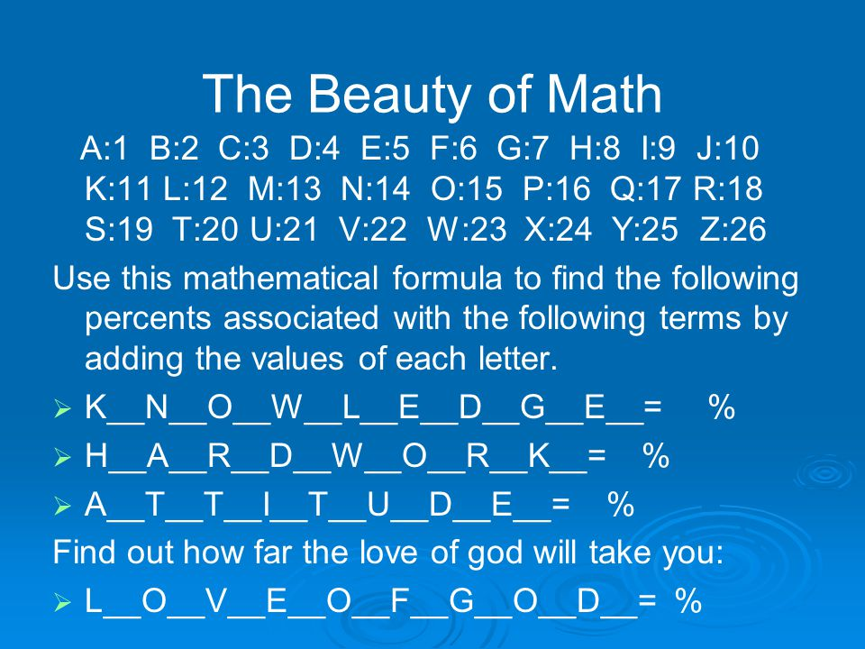 The Beauty of Math A:1 B:2 C:3 D:4 E:5 F:6 G:7 H:8 I:9 J:10 K:11 L:12 M:13 N:14 O:15 P:16 Q:17 R:18 S:19 T:20 U:21 V:22 W:23 X:24 Y:25 Z:26 Use this mathematical formula to find the following percents associated with the following terms by adding the values of each letter.