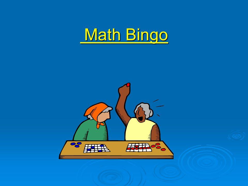 Math Bingo Math Bingo