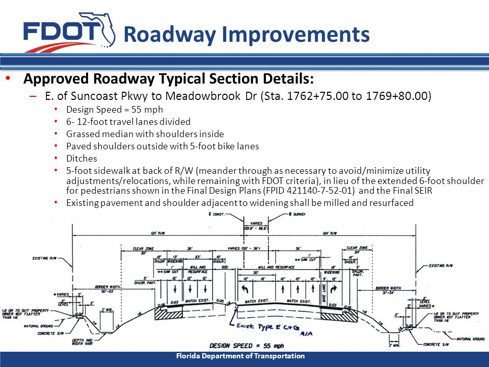 Florida Department of Transportation Roadway Improvements Approved Roadway Typical Section Details: – Meadowbrook Dr to Sofia Dr.