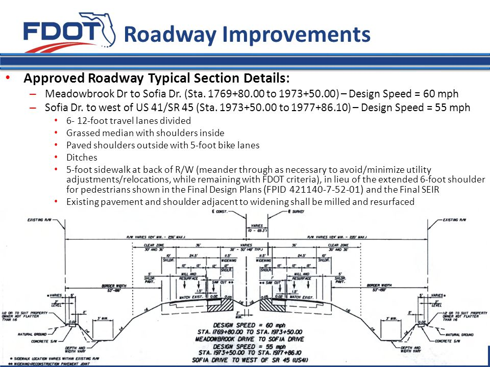 Florida Department of Transportation Roadway Improvements Approved Roadway Typical Section Details: – Meadowbrook Dr to Sofia Dr. (Sta. 1769+80.00 to