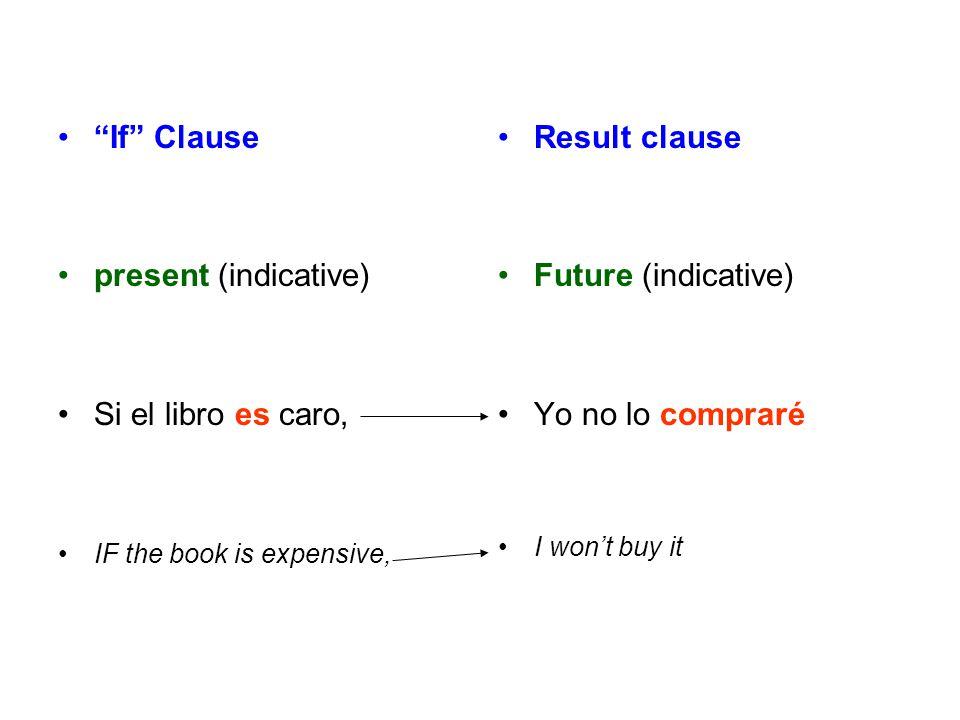 """If"" Clause present (indicative) Si el libro es caro, IF the book is expensive, Result clause Future (indicative) Yo no lo compraré I won't buy it"
