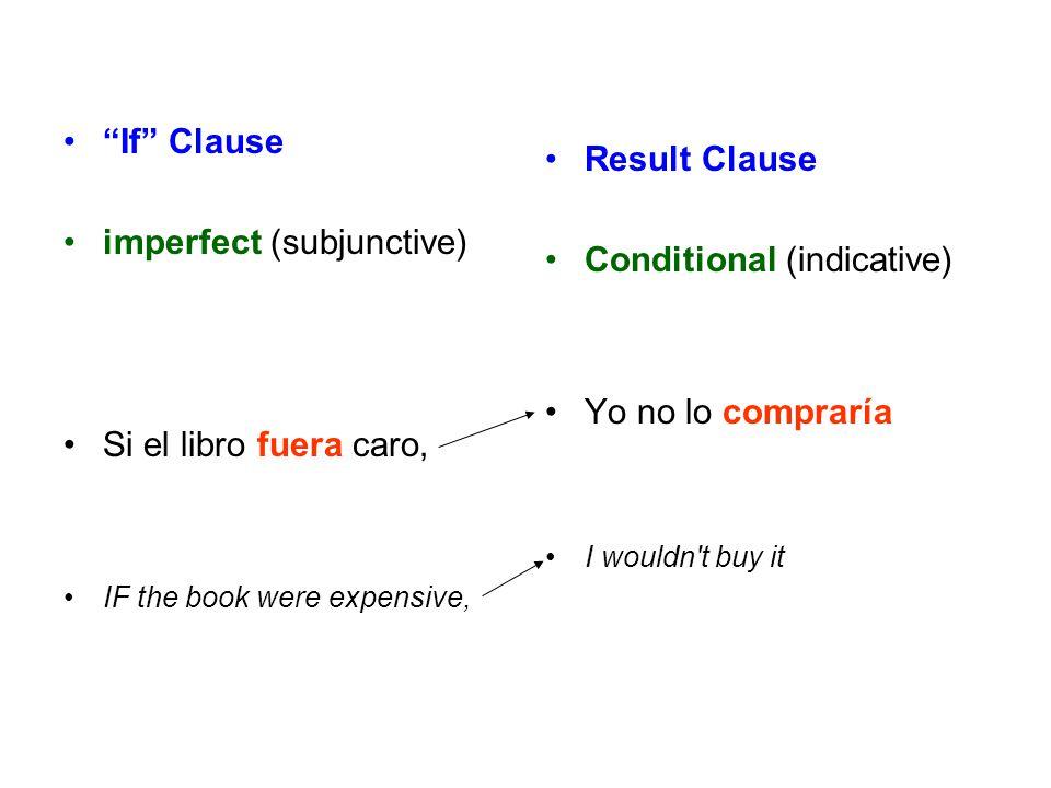 """If"" Clause imperfect (subjunctive) Si el libro fuera caro, IF the book were expensive, Result Clause Conditional (indicative) Yo no lo compraría I wo"