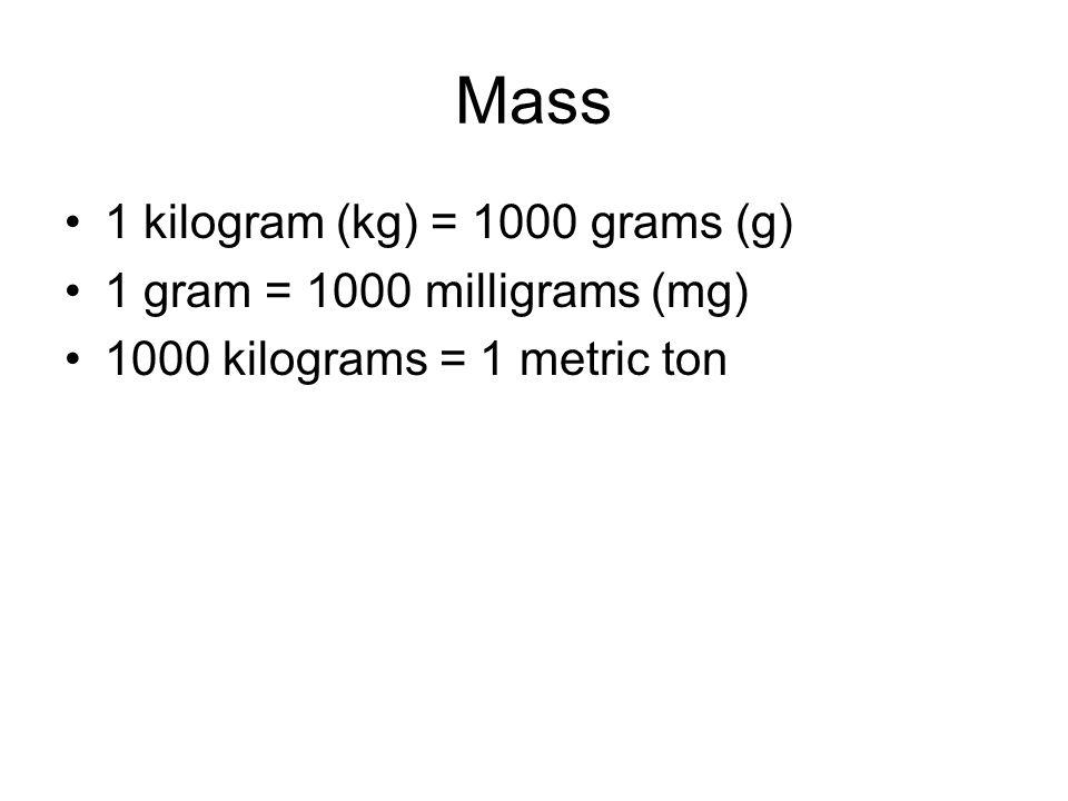 Mass 1 kilogram (kg) = 1000 grams (g) 1 gram = 1000 milligrams (mg) 1000 kilograms = 1 metric ton