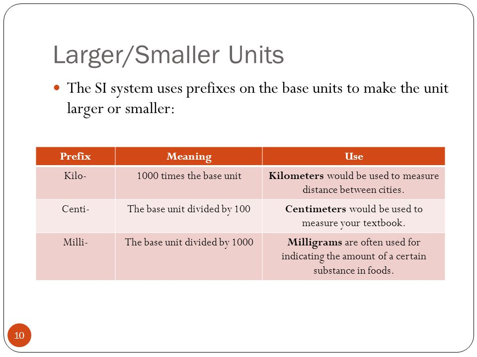 Larger/Smaller Units The SI system uses prefixes on the base units to make the unit larger or smaller: PrefixMeaningUse Kilo-1000 times the base unitK
