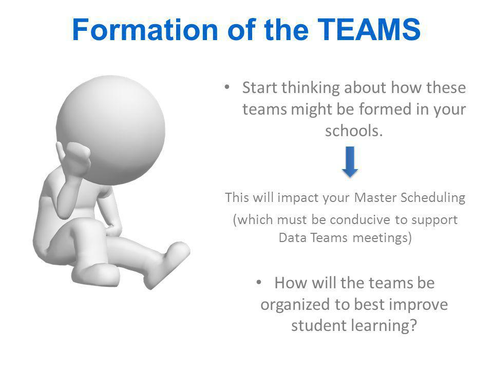 Formation of the TEAMS Start thinking about how these teams might be formed in your schools. This will impact your Master Scheduling (which must be co