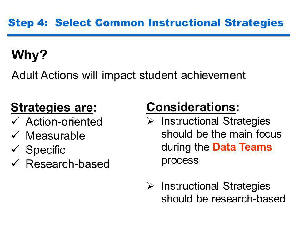 Step 4: Select Common Instructional Strategies Why? Adult Actions will impact student achievement Considerations:  Instructional Strategies should be