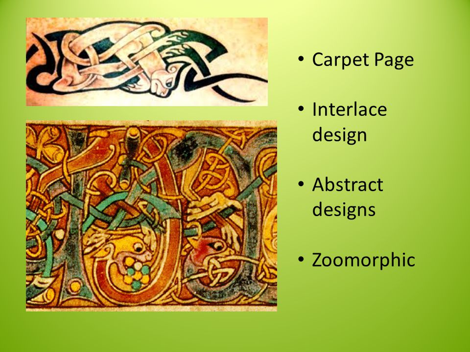 Carpet Page Interlace design Abstract designs Zoomorphic