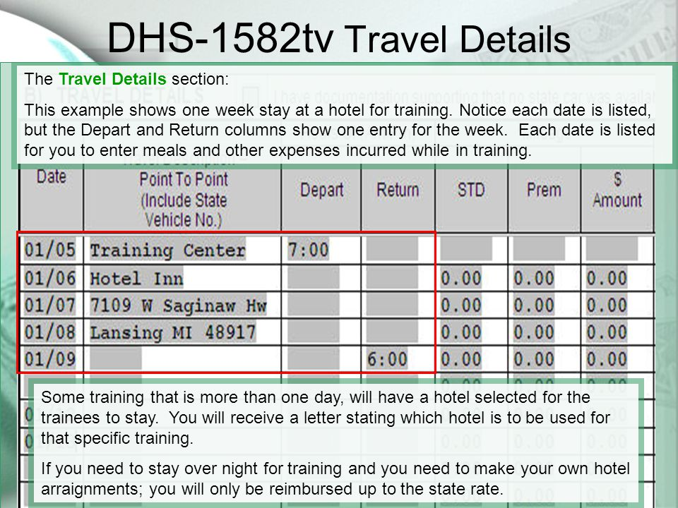 DHS-1582tv Travel Details The Travel Details section: This example shows one week stay at a hotel for training.