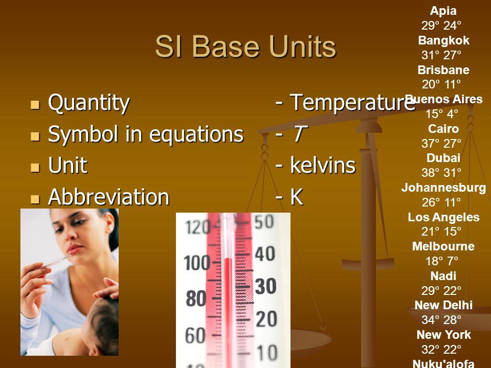 SI Base Units Quantity- Temperature Quantity- Temperature Symbol in equations- T Symbol in equations- T Unit- kelvins Unit- kelvins Abbreviation- K Abbreviation- K Apia 29° 24° Bangkok 31° 27° Brisbane 20° 11° Buenos Aires 15° 4° Cairo 37° 27° Dubai 38° 31° Johannesburg 26° 11° Los Angeles 21° 15° Melbourne 18° 7° Nadi 29° 22° New Delhi 34° 28° New York 32° 22° Nuku alofa 28° 18° Rarotonga 29° 19° Rome 29° 18° Scott Base -28° -32° Shanghai 29° 26° Singapore 29° 25° Sydney 17° 12° Tokyo 34° 28° Vladivostok -68° -75°