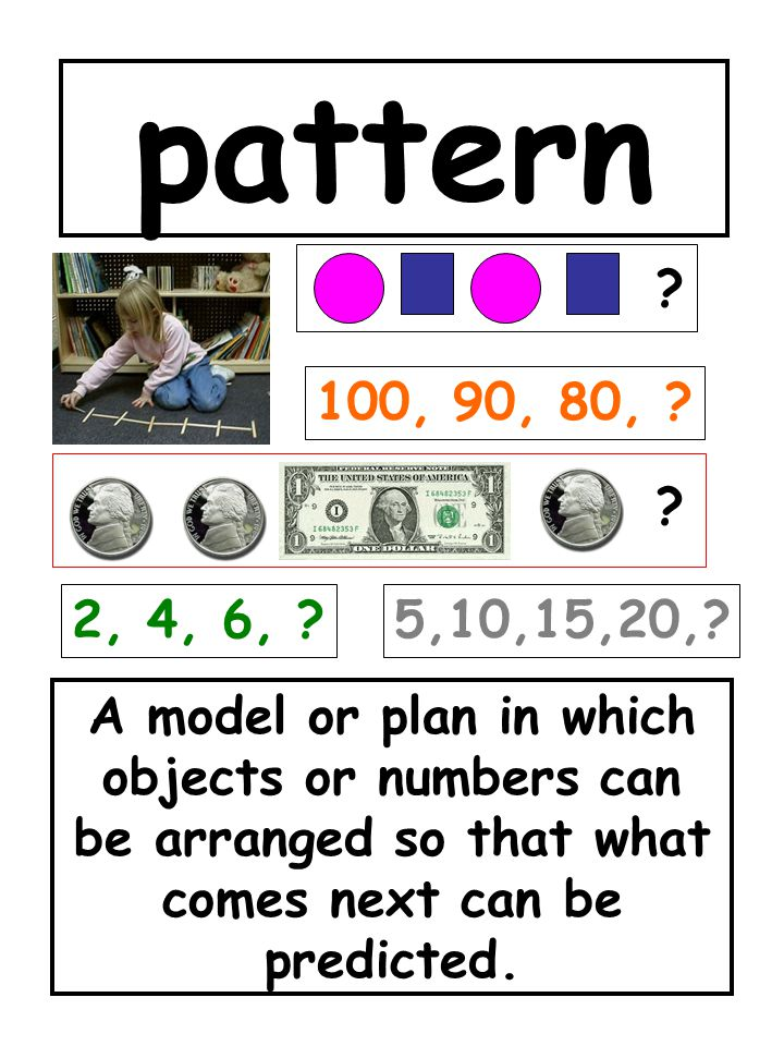 pattern A model or plan in which objects or numbers can be arranged so that what comes next can be predicted. ? 2, 4, 6, ? 100, 90, 80, ? ? 5,10,15,20