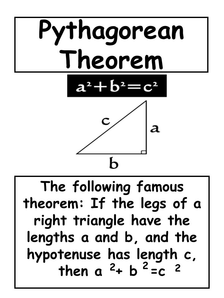 Pythagorean Theorem The following famous theorem: If the legs of a right triangle have the lengths a and b, and the hypotenuse has length c, then a +