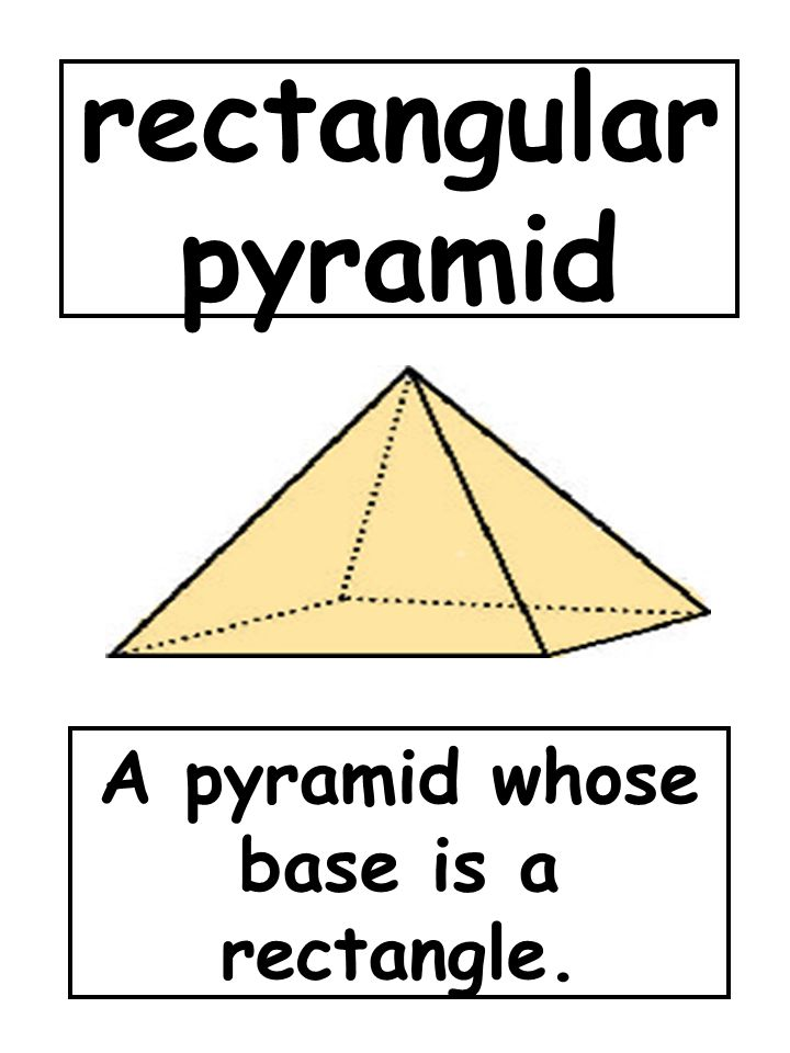 rectangular pyramid A pyramid whose base is a rectangle.