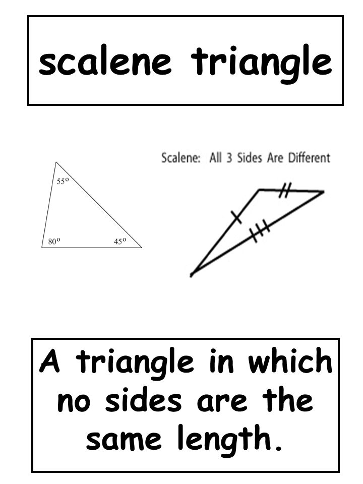 scalene triangle A triangle in which no sides are the same length.