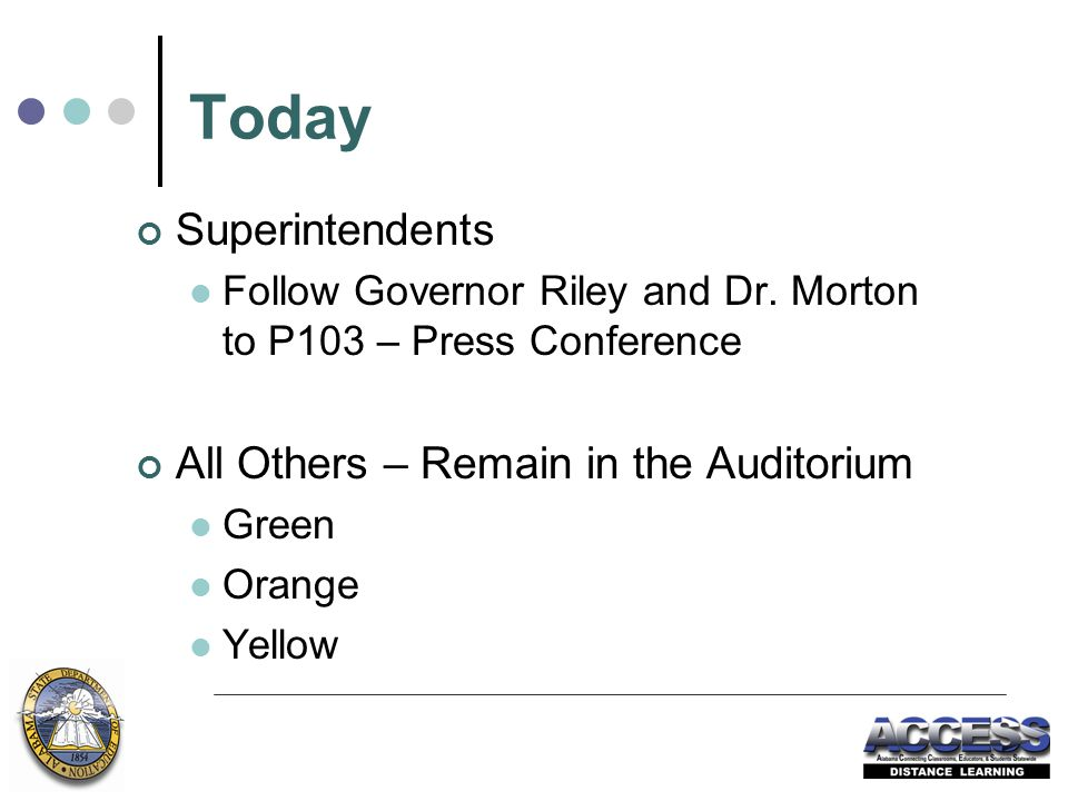 Today Superintendents Follow Governor Riley and Dr.