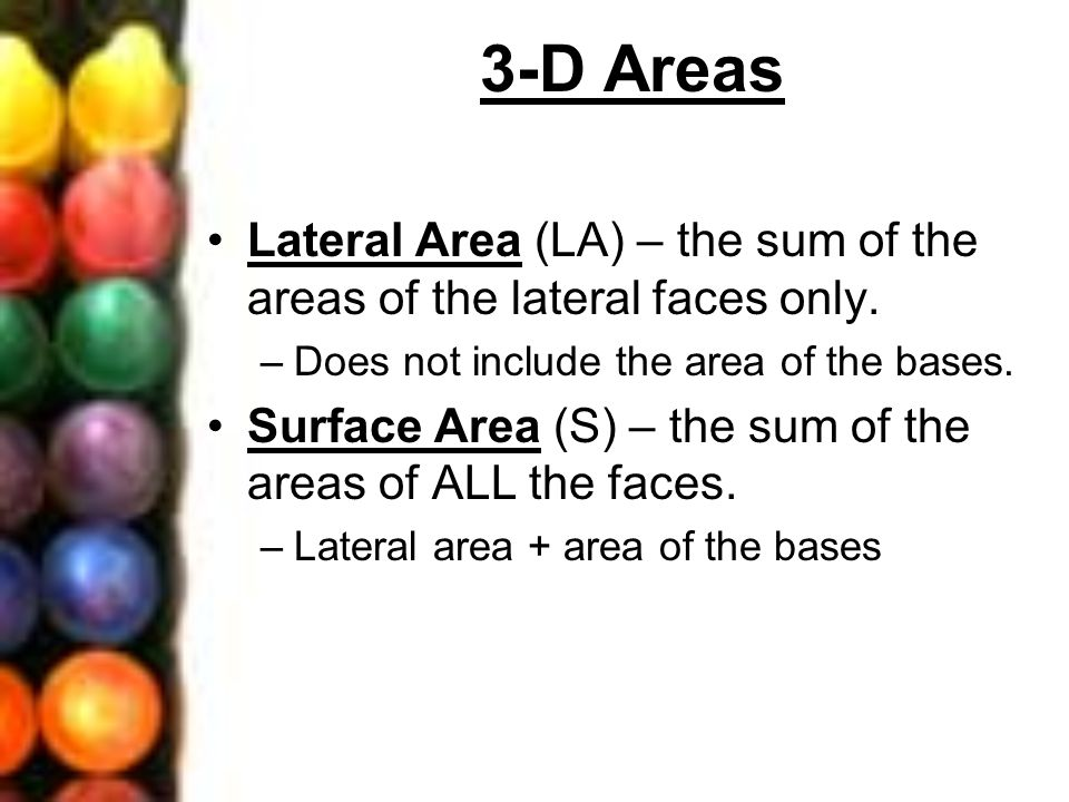3-D Areas Lateral Area (LA) – the sum of the areas of the lateral faces only. –Does not include the area of the bases. Surface Area (S) – the sum of t