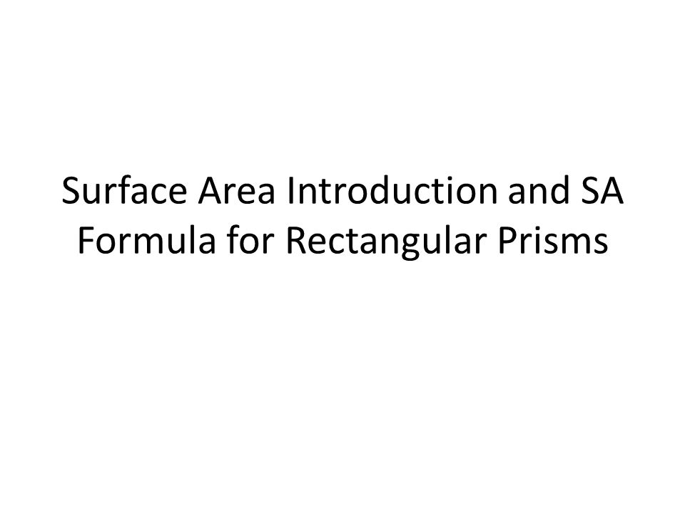 Surface Area Introduction and SA Formula for Rectangular Prisms