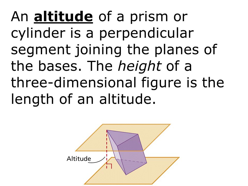 An altitude of a prism or cylinder is a perpendicular segment joining the planes of the bases. The height of a three-dimensional figure is the length