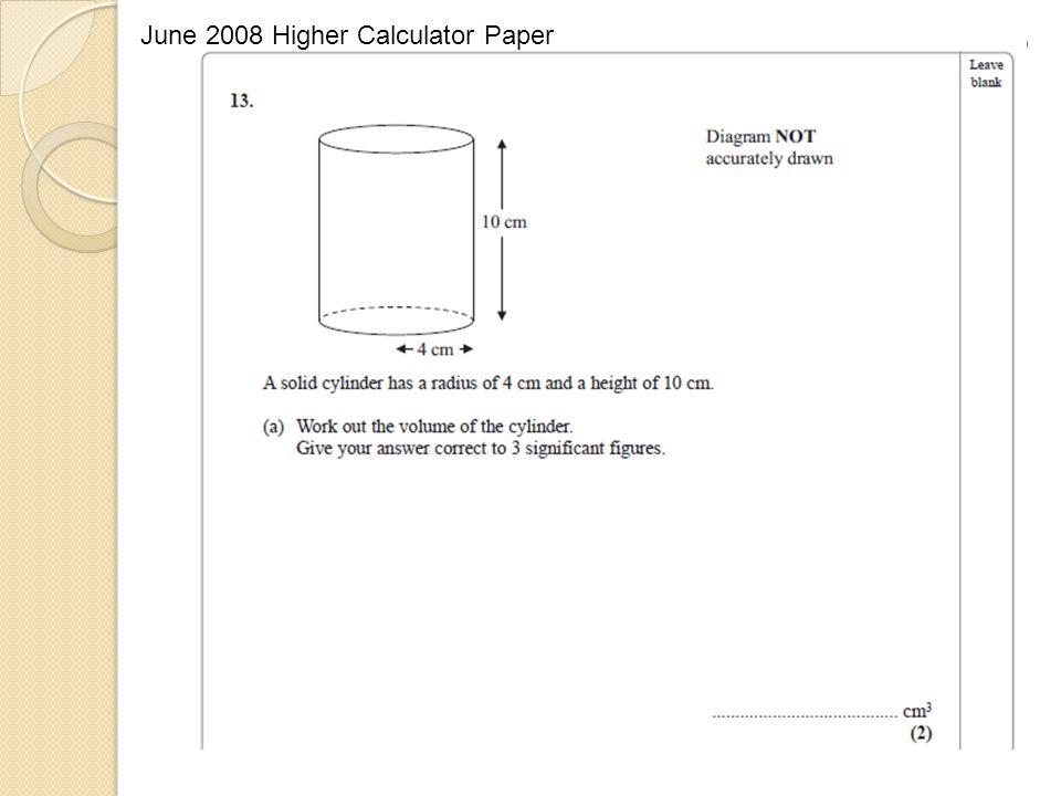 June 2008 Higher Calculator Paper