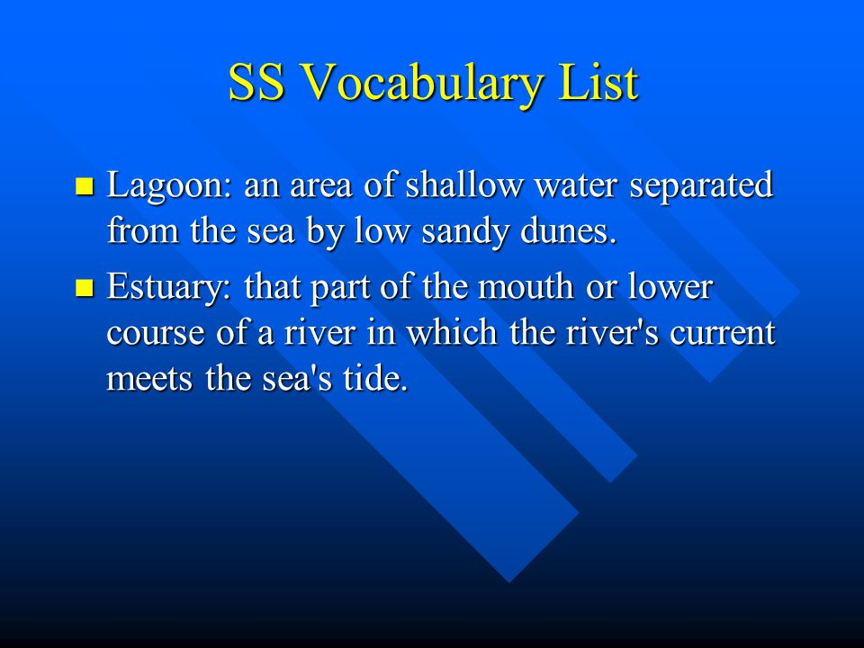 SS Vocabulary List Lagoon: an area of shallow water separated from the sea by low sandy dunes. Lagoon: an area of shallow water separated from the sea