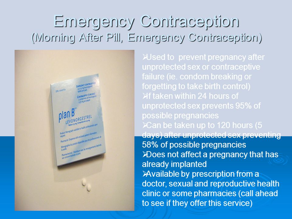 Emergency Contraception (Morning After Pill, Emergency Contraception)  Used to prevent pregnancy after unprotected sex or contraceptive failure (ie.