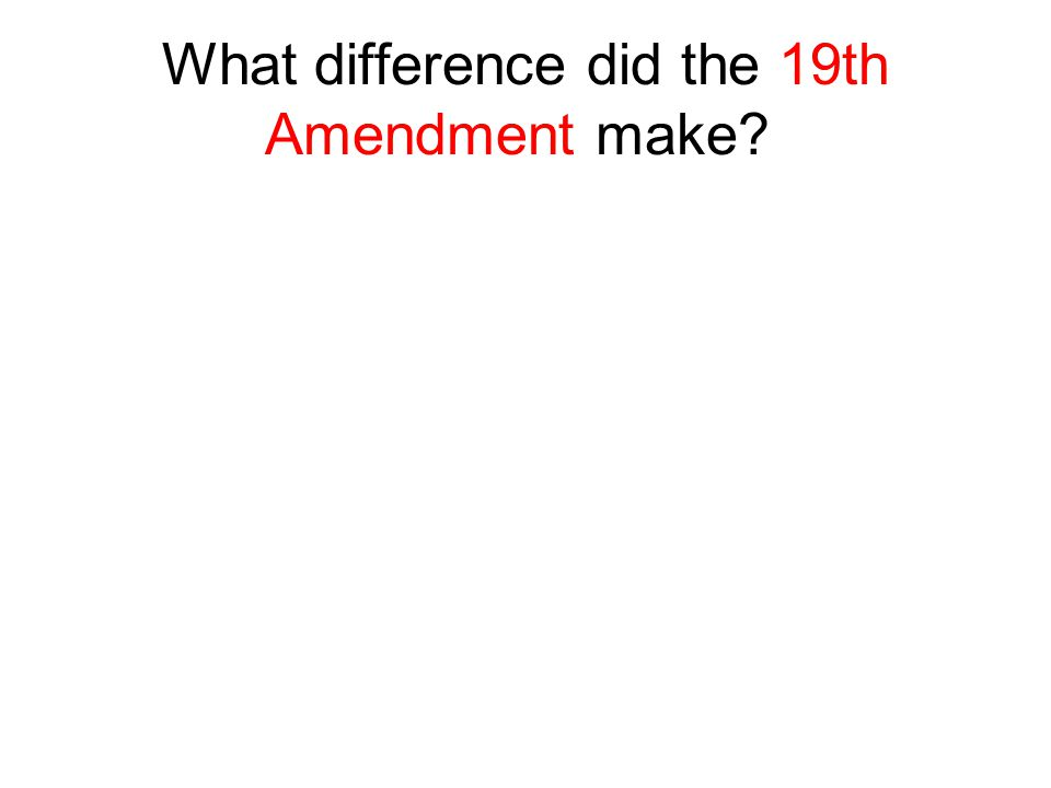 What difference did the 19th Amendment make