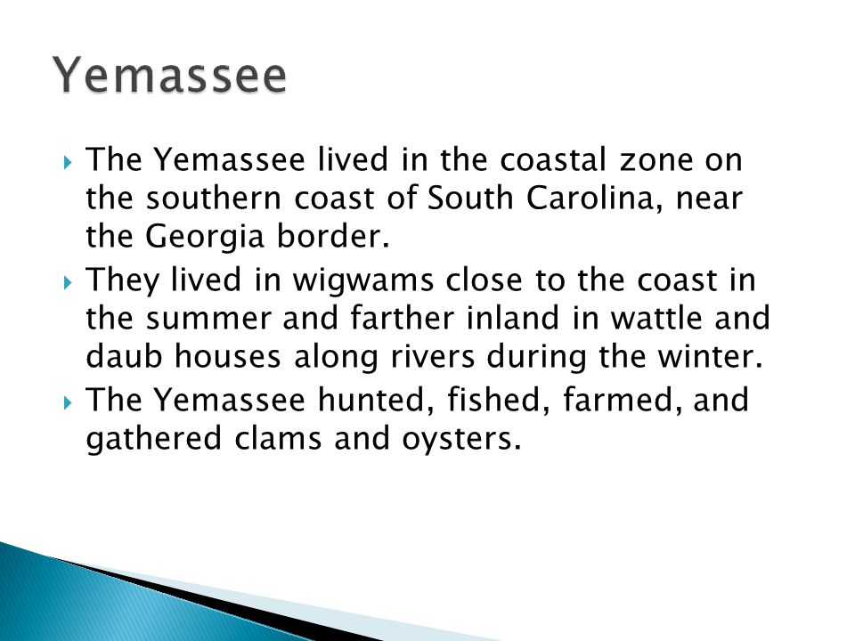  The Yemassee lived in the coastal zone on the southern coast of South Carolina, near the Georgia border.  They lived in wigwams close to the coast