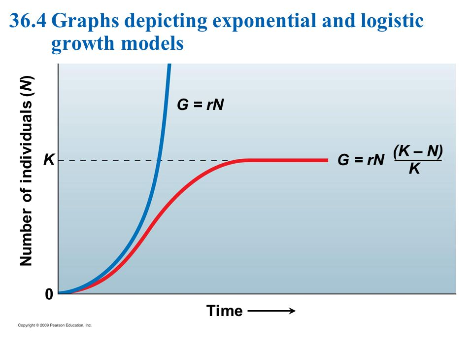Time Number of individuals (N) 0 K G = rN (K – N) K 36.4 Graphs depicting exponential and logistic growth models