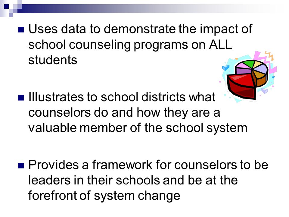 Uses data to demonstrate the impact of school counseling programs on ALL students Illustrates to school districts what counselors do and how they are a valuable member of the school system Provides a framework for counselors to be leaders in their schools and be at the forefront of system change