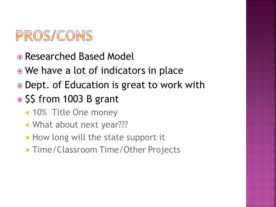  Researched Based Model  We have a lot of indicators in place  Dept.